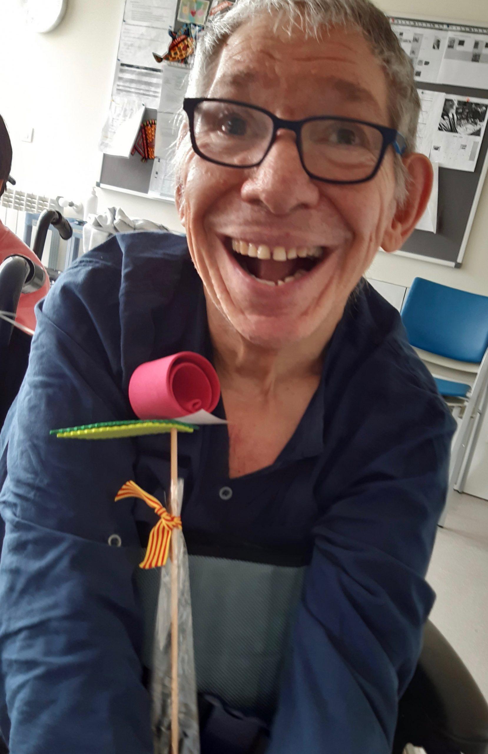 Isi, con la rosa de Sant Jordi