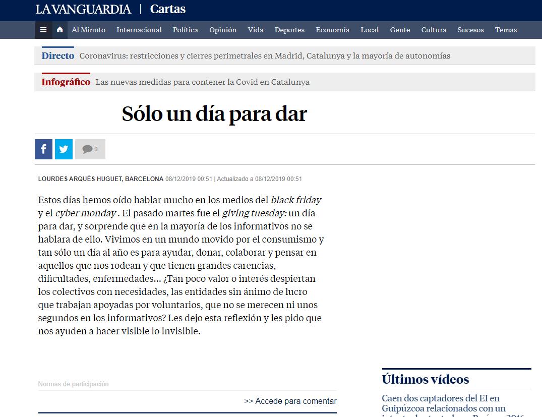 Carta de Lourdes Arqués en La Vanguardia